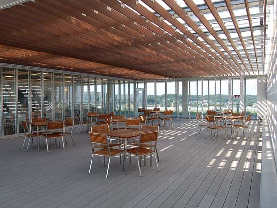 Ome City/【Cafeteria terrace area】The cafeteria terrace on the top floor affords a wonderful view of Okutama.