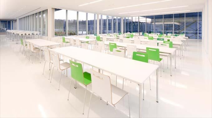 Nippon Suisan Kaisha, Ltd./【Cafeteria】A clean, simple cafeteria with a color scheme based on white.