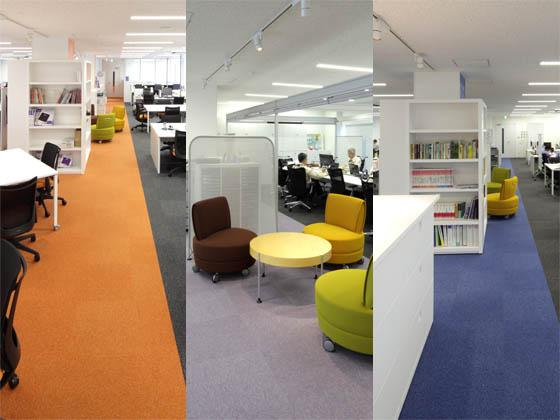 TANITA Corporation/【Communication area】Central common area with a theme color for each floor