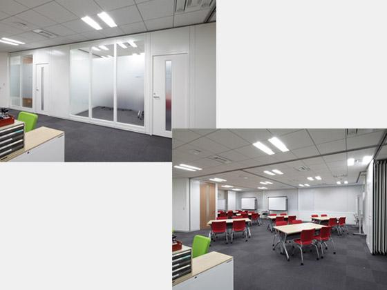 Suntory Flowers Limited/【Meeting rooms】(Left) Meeting room created by fully closing the movable partitions ⇔ (Right) Open meeting set up by fully opening the movable partitions