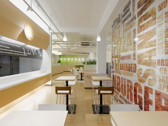 Oki Electric Industry Co., Ltd./【First floor counter seats】Counter seats for grabbing a quick meal. The graphics are very bold.