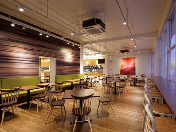 Oki Electric Industry Co., Ltd./【Second floor relaxation café】Graphics with natural themes such as geological layers, wood grains, etc.