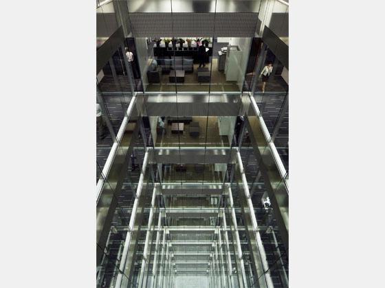System consulting company/【Break area】A break space seen through the ECOVOID from the common area