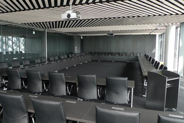 JA Tokyo Musashi/【Conference room】The distinctive wood ceiling design uses a bamboo basket motif