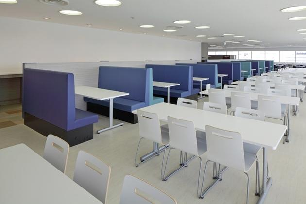 Sony Corporation/【River-side area】A bright and refreshing space with white and blue keynote colors.