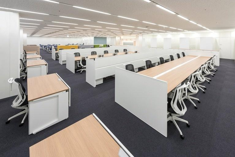 Origin Electric Co., Ltd./【Work space (Saitama-Shintoshin Head Office)】The open and flexible work space can accommodate future organization changes, personnel moves, etc.