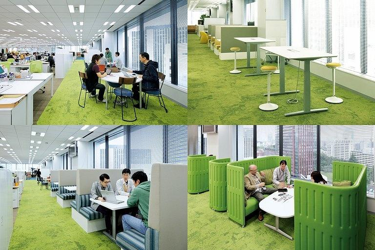 BANDAI NAMCO Entertainment Inc./【West-side communication area】Diverse shared spaces can be selected to fit usage and mood.