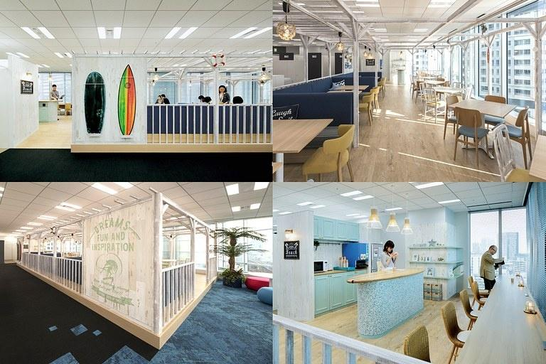 BANDAI NAMCO Entertainment Inc./【8F Communication space/BEACH】The interior creates an open and refreshing beach scene.