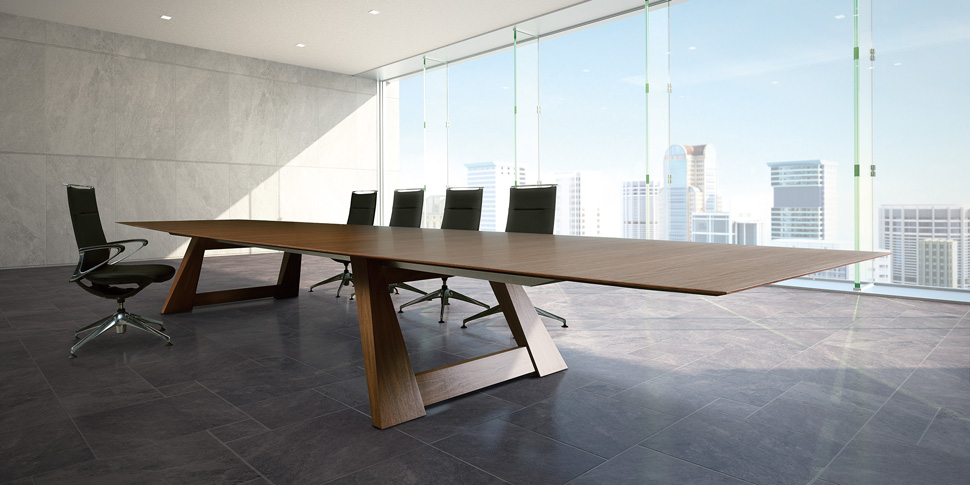 V Conference Table Products Okamura - Gray conference table